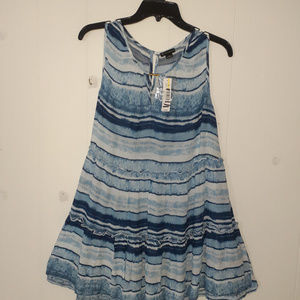 New Directions Sleeveless Blue Stripe Ruffle Dress